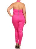 Plus Size Hot Halter Neckline Pink Jumpsuit