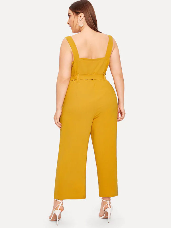 Plus Size Button Front Belted Cami Jumpsuit