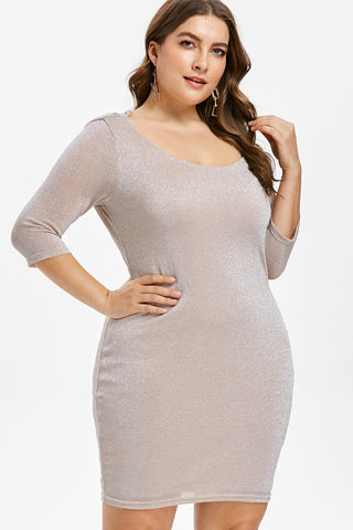 Plus Size Sparkling Drape Back O-Neck Bodycon Dress