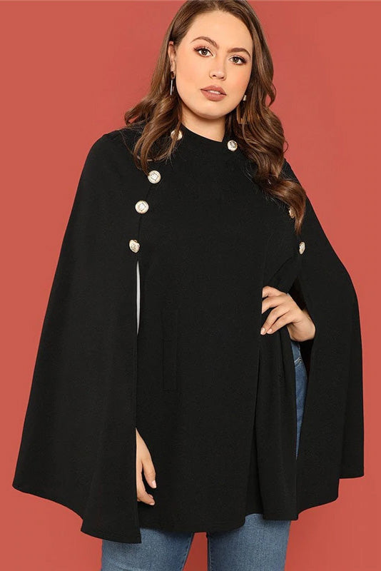 Plus Size Cloak Sleeve Double Breasted Designer Top