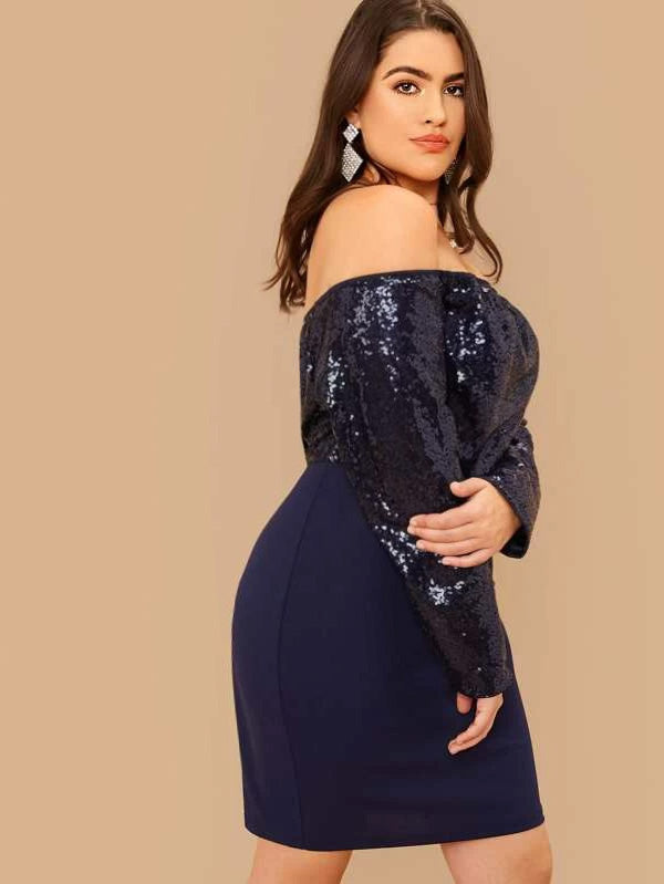 Plus Size Off Shoulder Sequin Bodice Dress