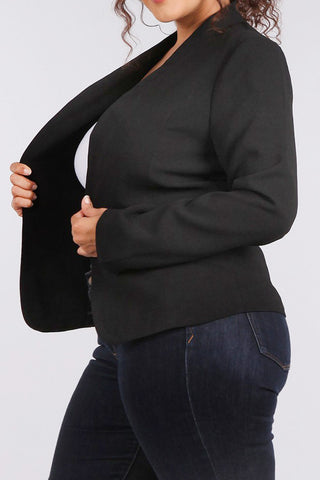 City Chic Solid Panel Plus Size Blazer Jacket