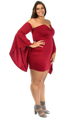Draped Sleeves Heart Neckline Plus Size Dress