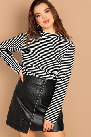 Plus Size Stand Collar Black and White Stripe Top