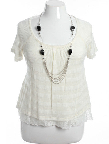 Plus Size Lace Layered Stripe White Blouse