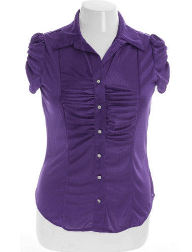 Plus Size Silky Scrunch Diamond Button Purple Top
