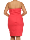 Plus Size Color Block Coral Tube Dress