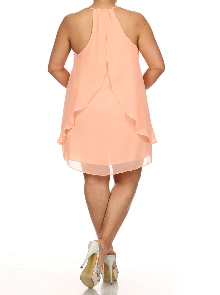 Plus Size Flirty Butterfly Ruffles Frock Peach Dress
