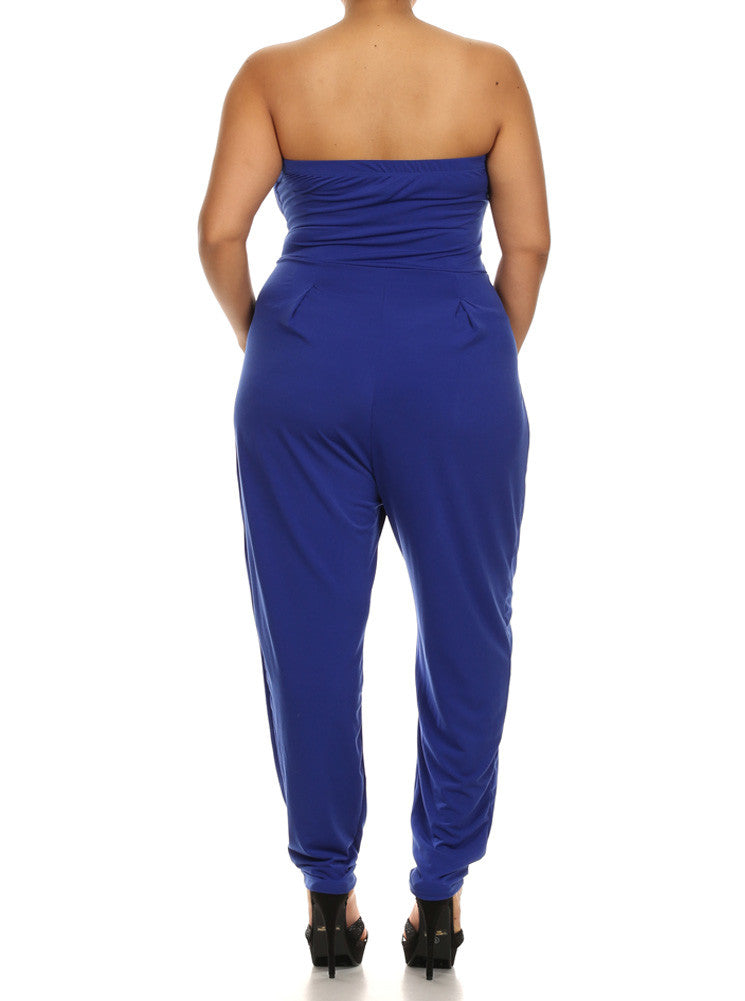 Plus Size Strapless Cross Over Blue Jumpsuit