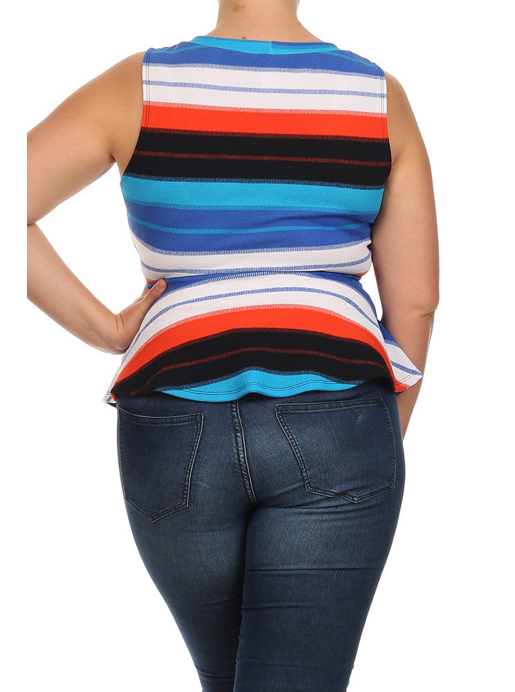 Plus Size Striped Jagged Hem Peplum Blue Top