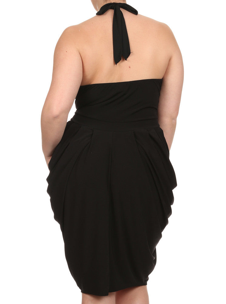Plus Size Halter Cowl Neck V Hem Black Dress