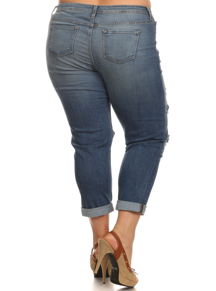 Plus Size Boyfriend Cuffed Slashed Dark Blue Jeans