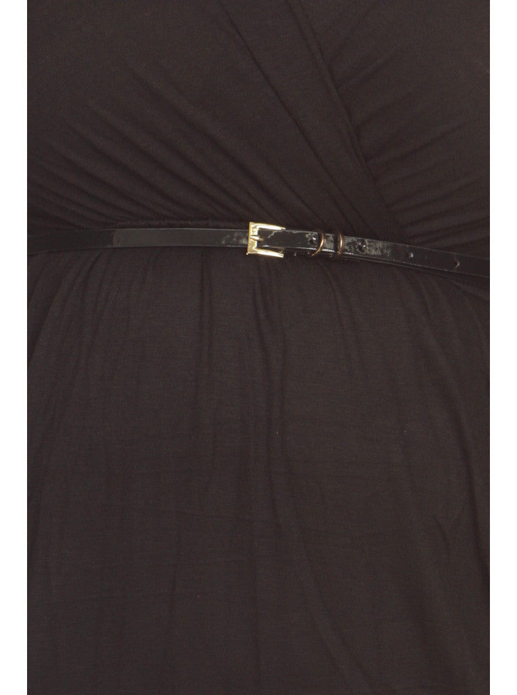 Plus Size Modish Surplice Belted Black Dress