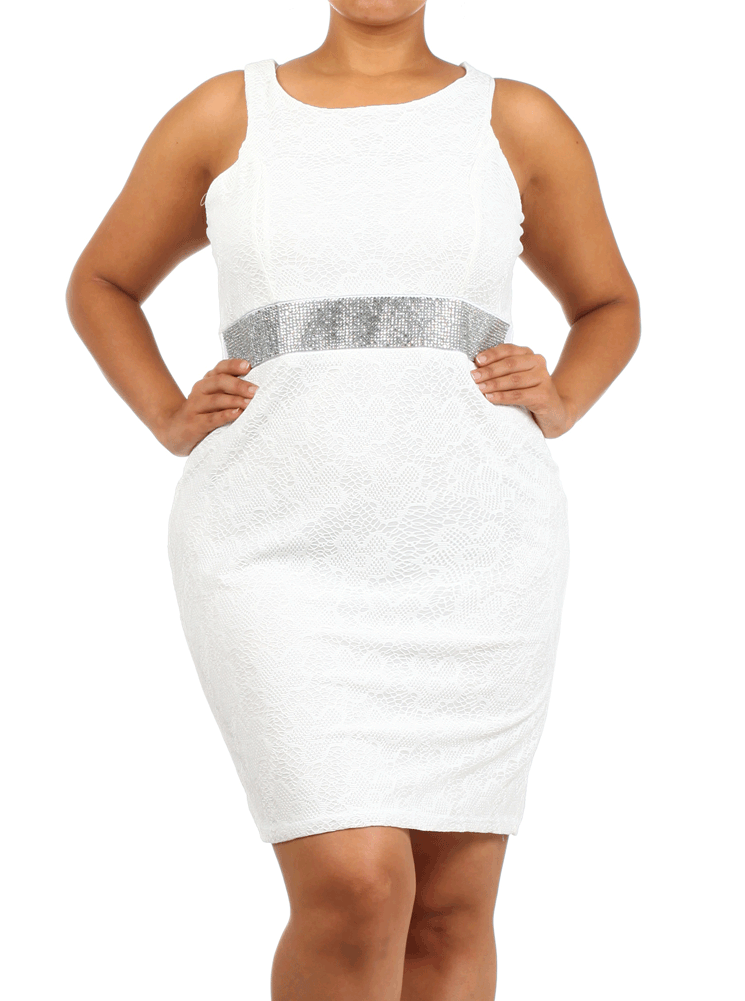 Plus Size Ravishing Rhinestone Floral Lace White Dress