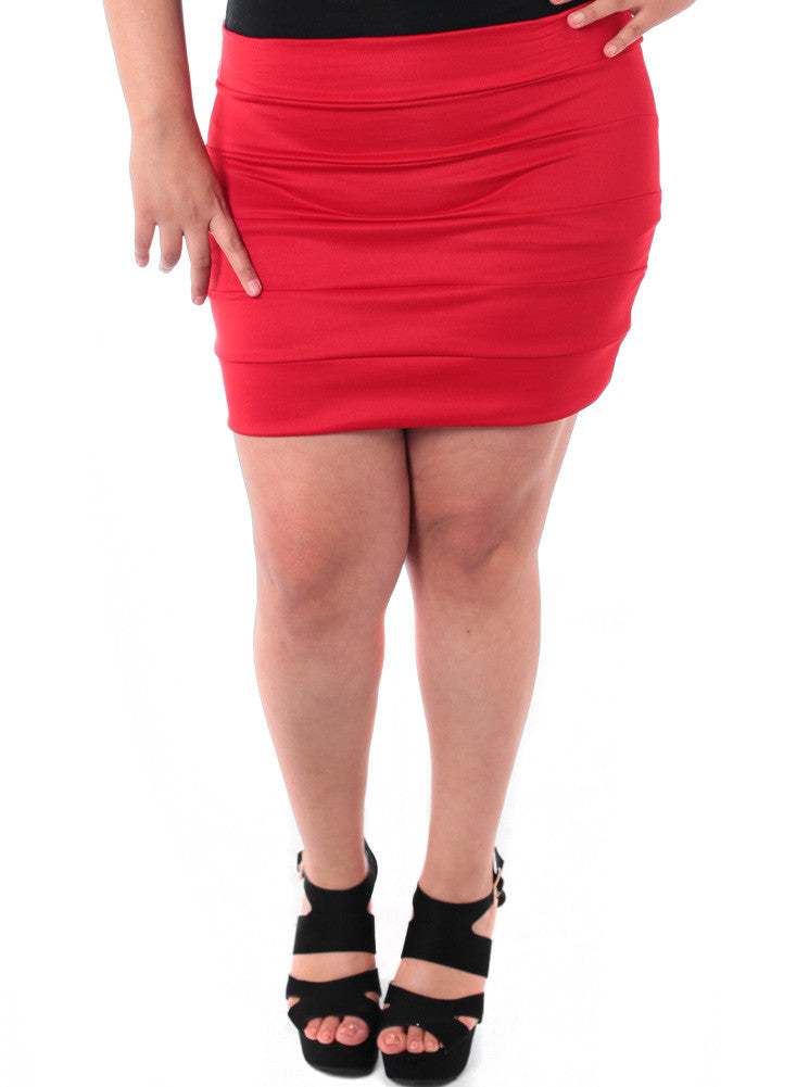 Plus Size Block Stripe Red Mini Skirt