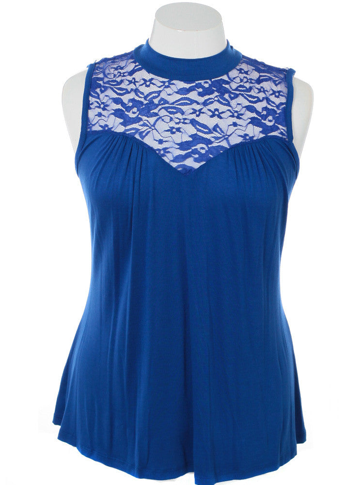 Plus Size See Through Lace Sleeveless Blue Blouse