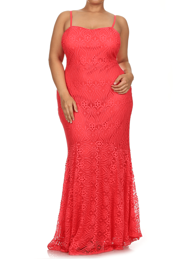 Plus Size Princess Crochet Mermaid Coral Maxi Dress