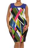 Plus Size Mod Art Strokes Blue Colorblock Dress