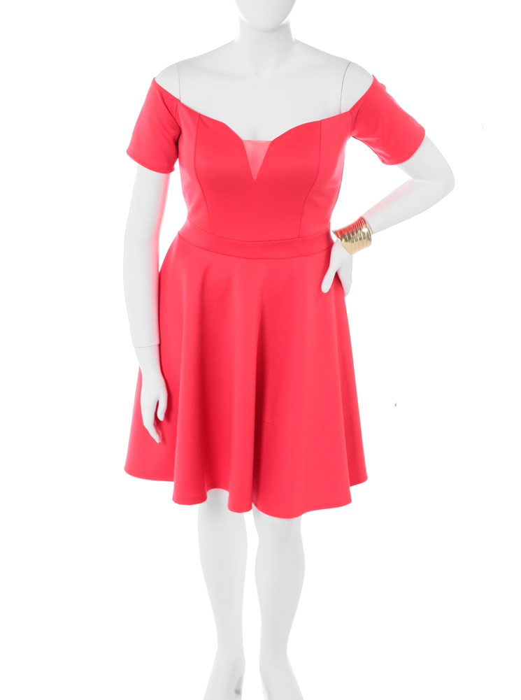 Plus Size True Romance Coral Skater Dress