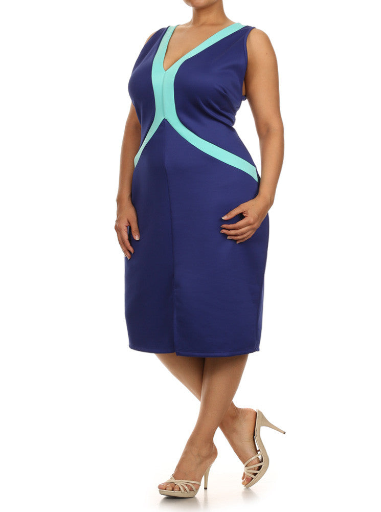 Plus Size Cross My Heart Colorblock Blue Dress