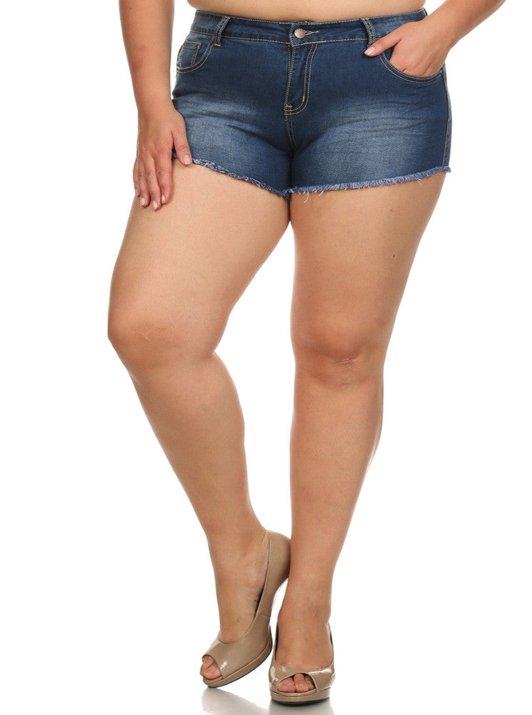 Plus Size Hot Faded Denim Cut Off Dark Blue Shorts