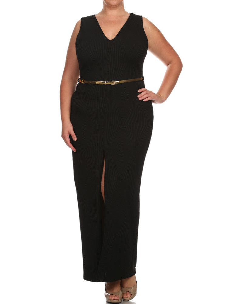 Plus Size Belted Diamond Black Maxi Mesh Dress - $29.99