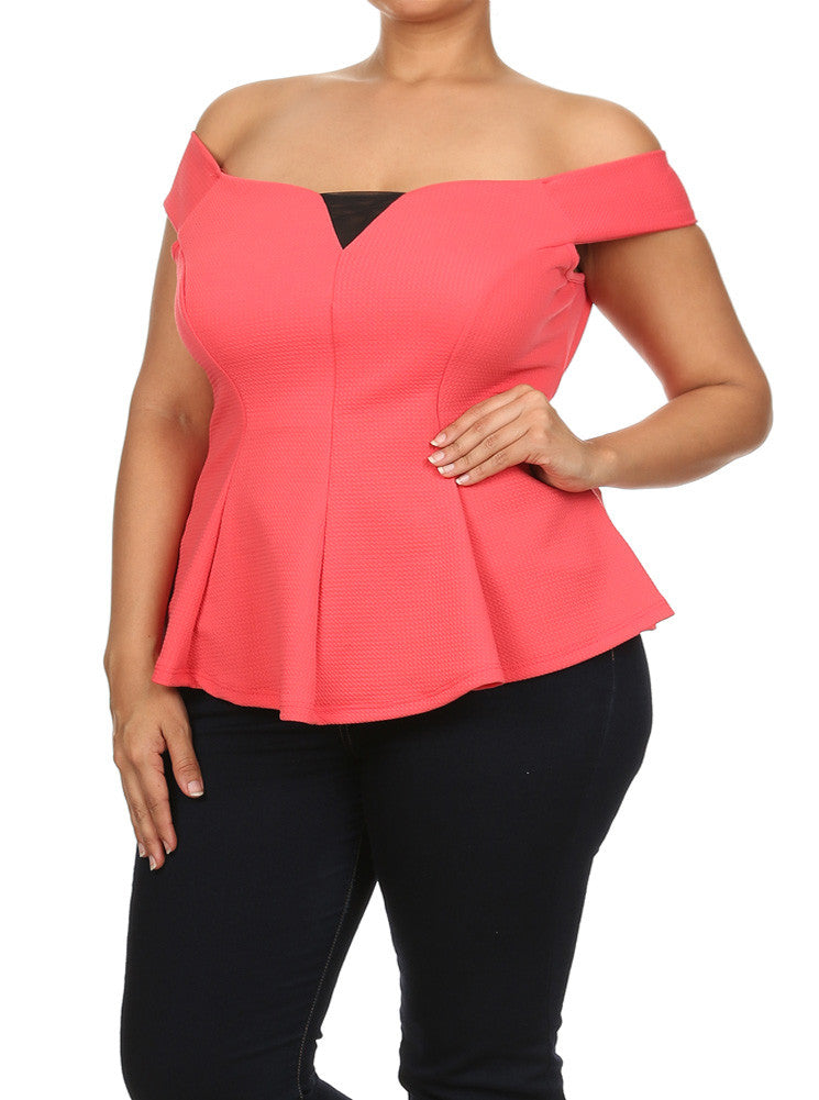 Plus Size Hot Mesh Cut Out Shoulders Coral Top