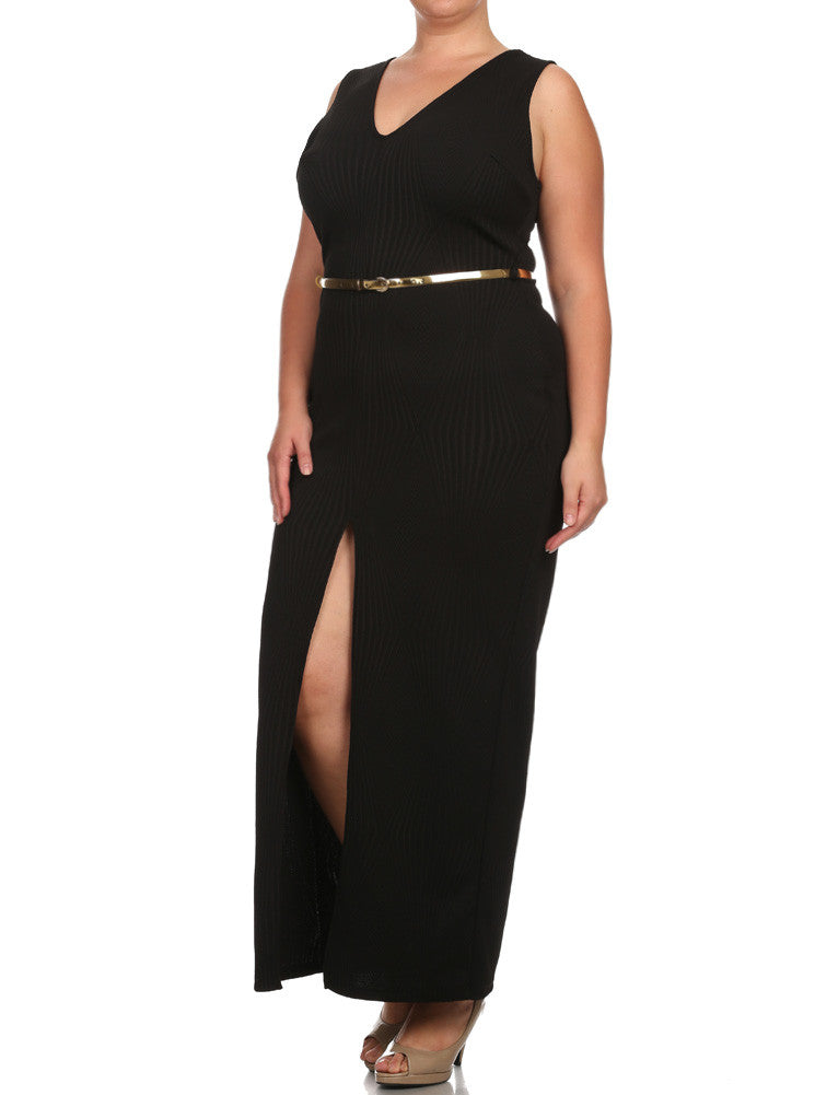 Plus Size Belted Diamond Black Maxi Mesh Dress