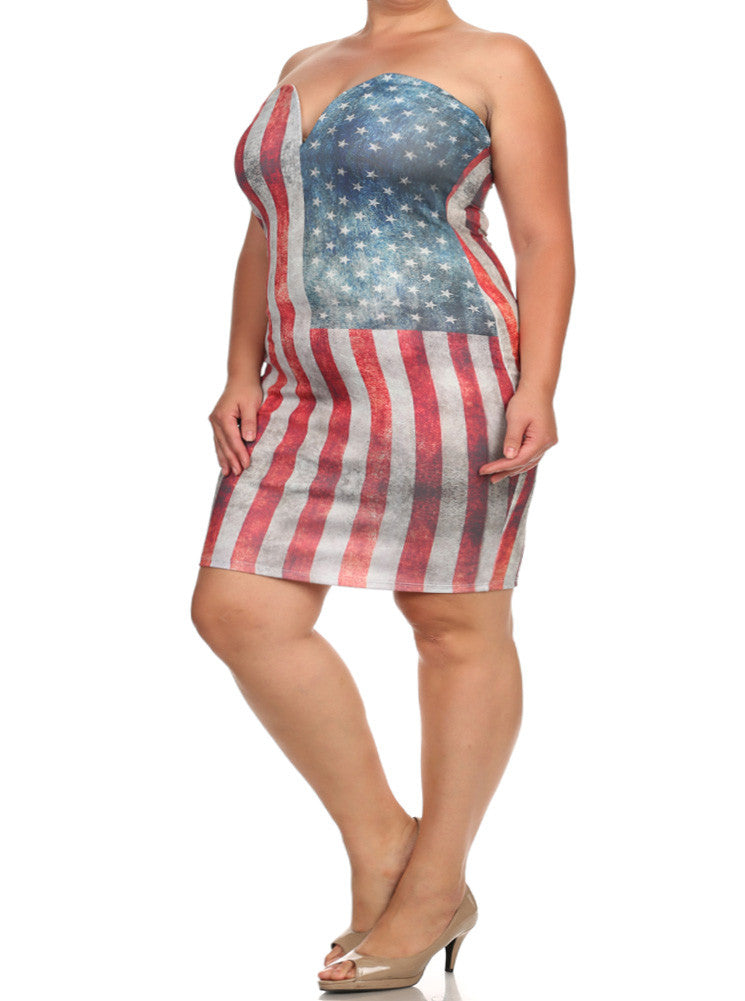 Plus Size Miss America Graphic Print Dress