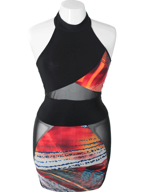 Plus Size Sexy Abstract Bodycon Red Dress