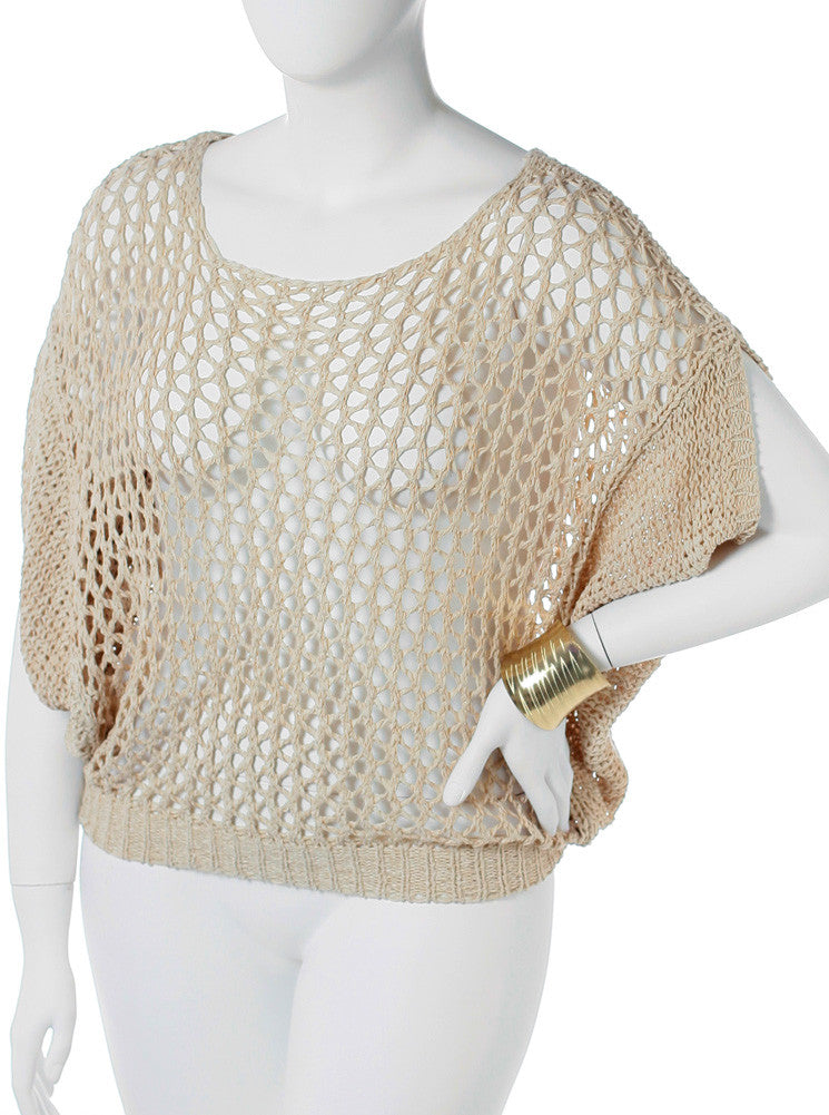 Plus Size See Through Knitted Tan Tunic