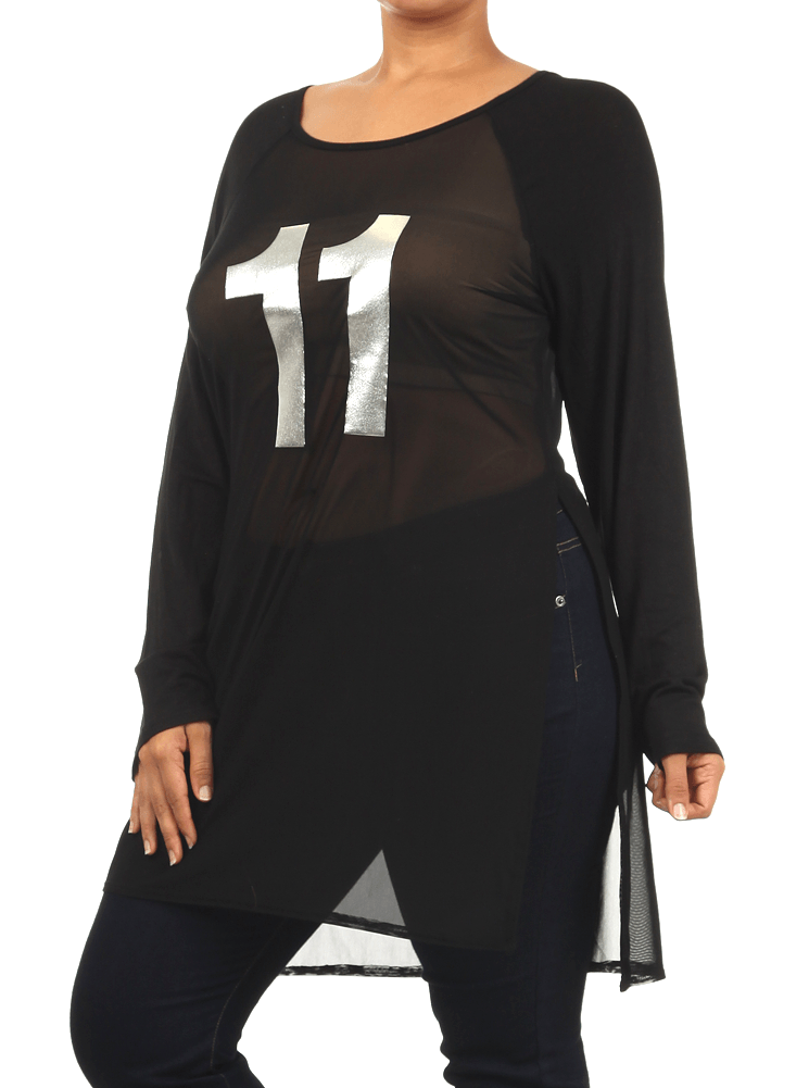 Plus Size Game On Silver Mesh Raglan Jersey Top