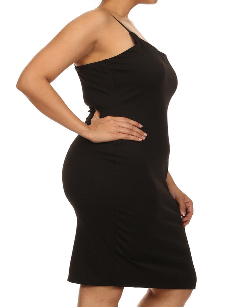 Plus Size Midnight Chevron Print Black Dress