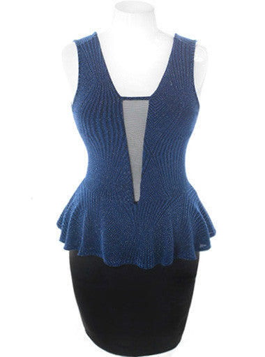 Plus Size Sparkling Scuba Mesh Peplum Blue Dress