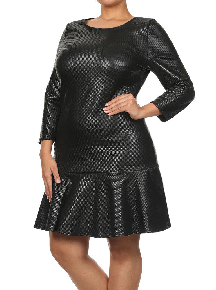 22026b6810c Plus Size Fierce Leather Pattern Trumpet Skirt Dress – Plussizefix