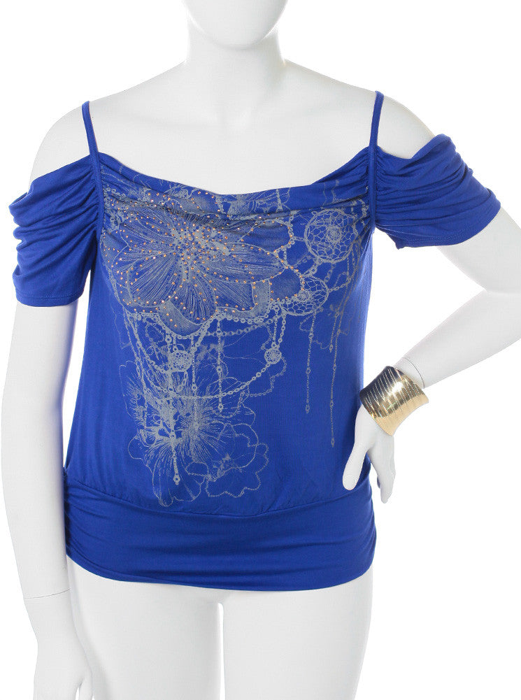 Plus Size Open Shoulder Dazzled Blue Top