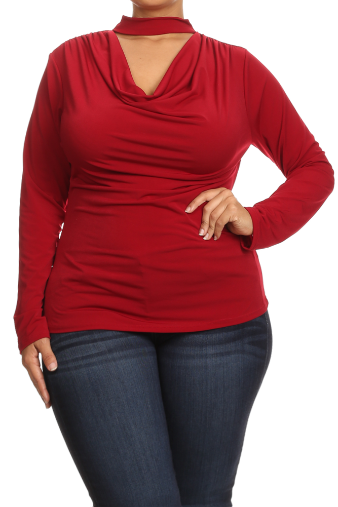 Chic Cowl Long Sleeve Plus Size Choker Top