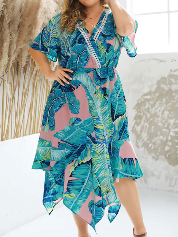 Plus Size Surplice Front Tropical Print Asymmetrical Hem Dress