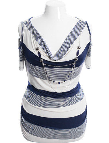 Plus Size Open Shoulder Gathered Sexy Stripe Blue Top