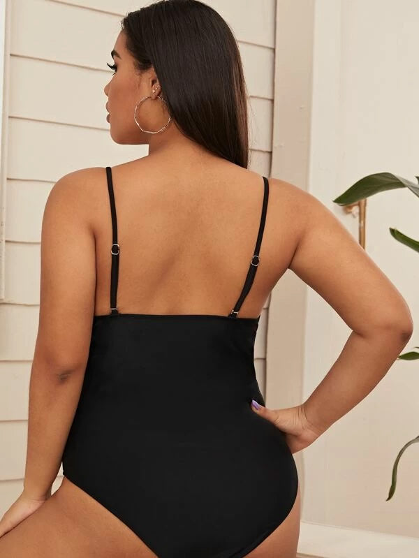 Plus Size Zipper Front One Piece Swimwear