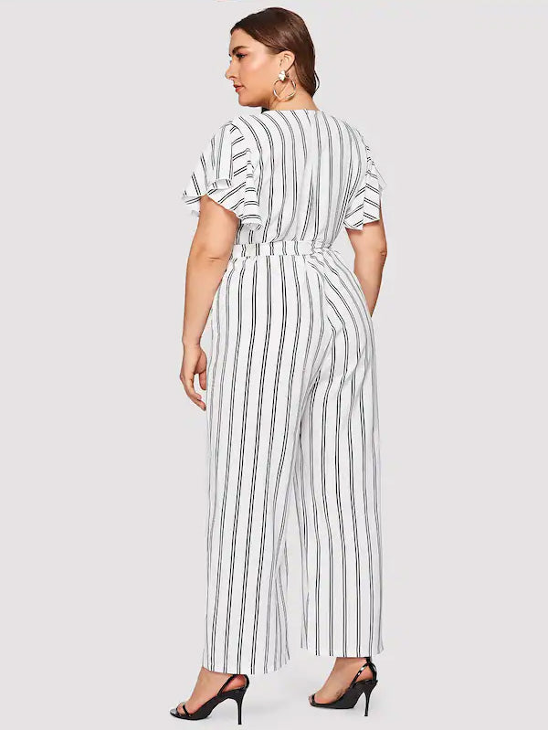 Plus Size Self Tie Striped Jumpsuit