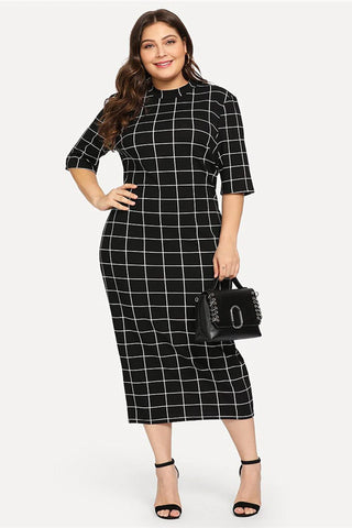 Plus Size Classic Trendy Mod Grid Bodycon Dress