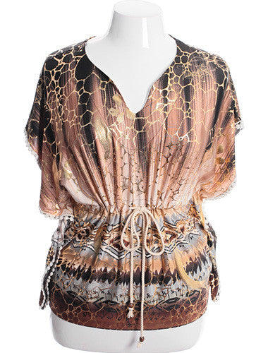 Plus Size Sexy Gathered Gold Tunic Top