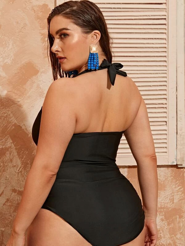 Plus Size Lace-up Halter One Piece Swimwear
