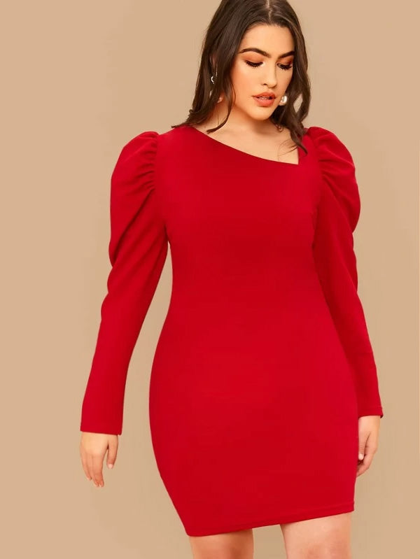 Plus Size Bold Shoulder Asymmetrical Bodycon Dress