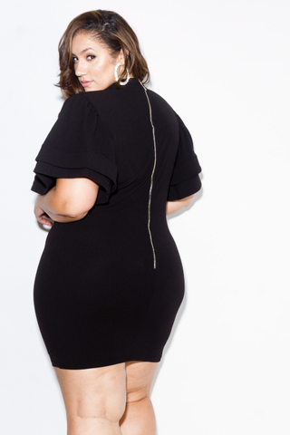 Plus Size Dress with Ruffle Sleeve