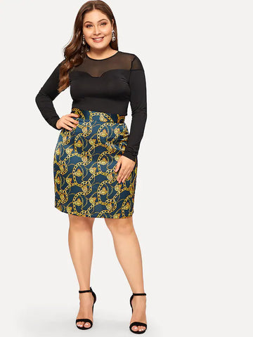 Plus Size Chain Print Skirt