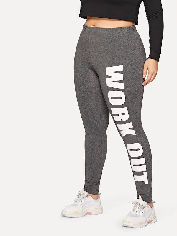 Plus Size Heathered Gray Letter Leggings