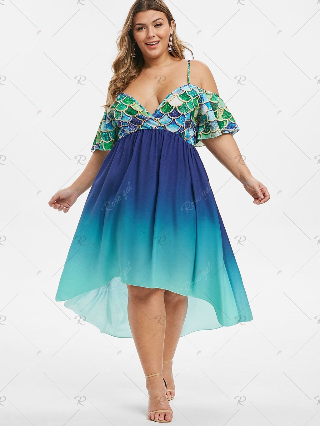 High Low Mermaid Scales Cold Shoulder Plus Size Dress