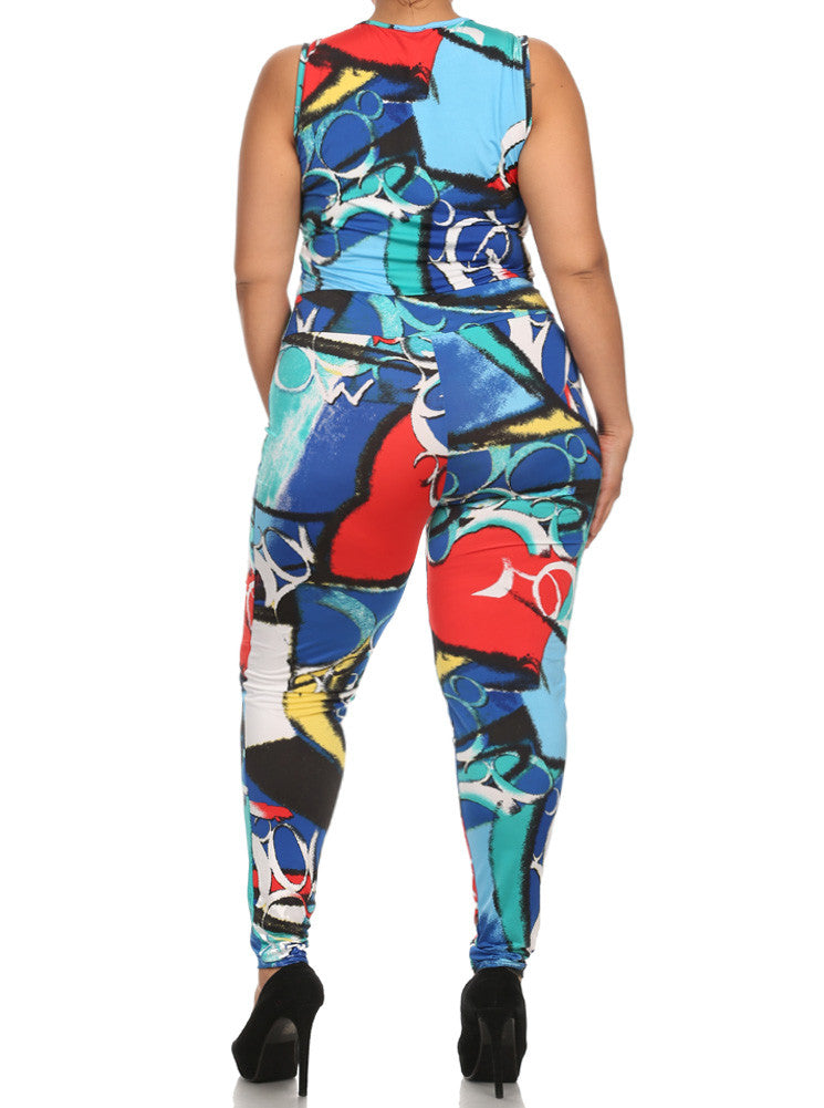 Plus Size Let's Party Lively Print Jumpsuit